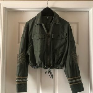 Free People Olive green military jacket